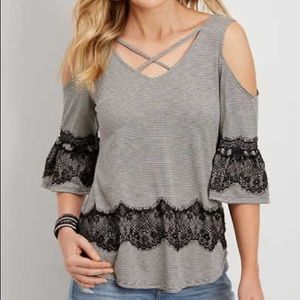 Maurices striped cold shoulder lace top